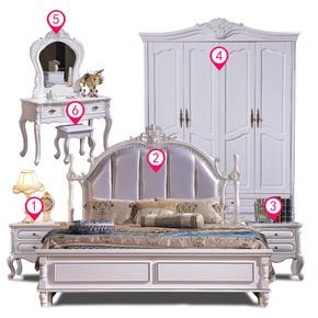 全实木家具套装组合卧室六件套成套简约床衣柜全套欧式主卧家具