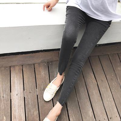 孕妇牛仔裤长裤托腹打底裤2018新款潮妈春季外穿小脚孕妇裤子春装