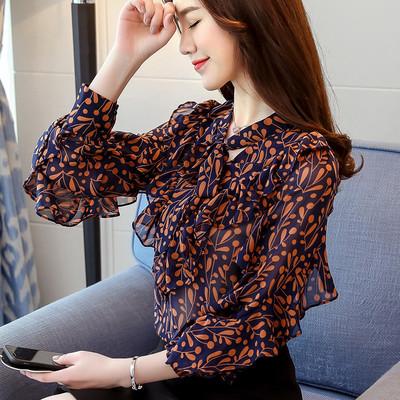 雪纺衫女长袖2019春装新款打底时尚遮肚子超仙衬衫小碎花洋气小衫
