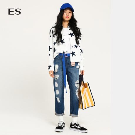 艾格ES 2019时尚BF风磨白磨毛破洞直筒宽松牛仔七分裤女M139商品大图