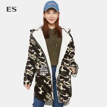 艾格ES 2019冬季休闲迷彩羊羔毛加厚连帽长袖中长款外套女M140图片