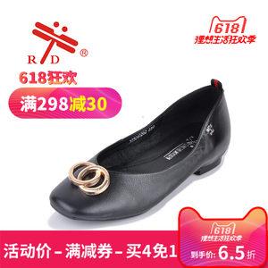 RD台湾红蜻蜓秋季真皮女鞋蛋卷鞋软皮单鞋浅口百搭瓢鞋牛皮平底软