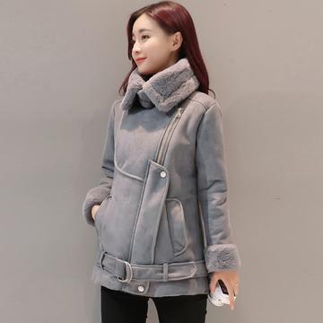 2018秋冬季新款时尚羊羔毛外套女加厚保暖鹿皮绒棉衣女短款棉服潮