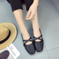 Single shoes female summer 2017 new square head flat student peas shoes Korean version of the cross with wild ballet shoes