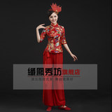 Singing costume 2019 new waist-inspired cheongsam fan dance costume Chinese Fengwomen Square dance performance suit set