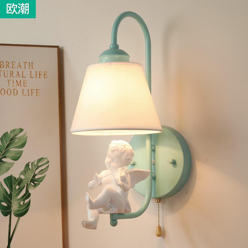 北欧田园小鸟壁灯小天使儿童壁灯美式现代过道客厅卧室床头强壁灯