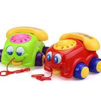 Baby toddler dragging toy Pulling big eyes phone Hand pushing rope Baby puzzle June 1-3 years old