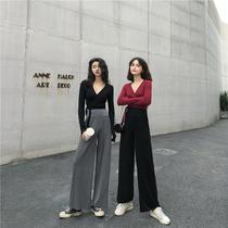 网红春季新款女装两件套装女港味V领系带短款上衣+高腰坠感阔腿裤