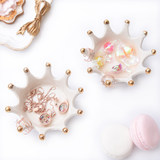 Cute ceramic crown styling jewelry box ring storage tray jewelry candy seasoning dish ceramic props shooting