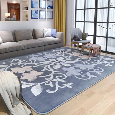众弘 卧室地毯客厅沙发欧式茶几毯公主方块珊瑚绒地毡 简约现代