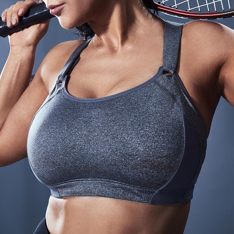 月色大码运动内衣女背心式聚拢全罩杯胖mm高强度健身防震跑步文胸