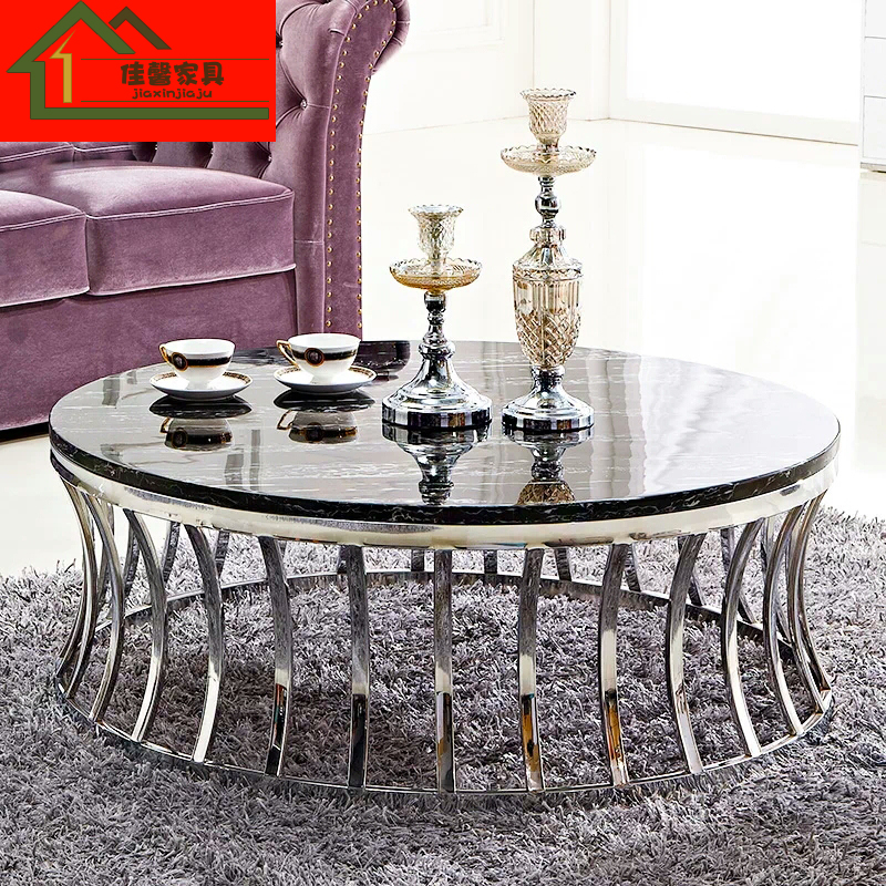 不锈钢茶几简约现代圆几钢化玻璃大理石茶桌小户型沙发几组合