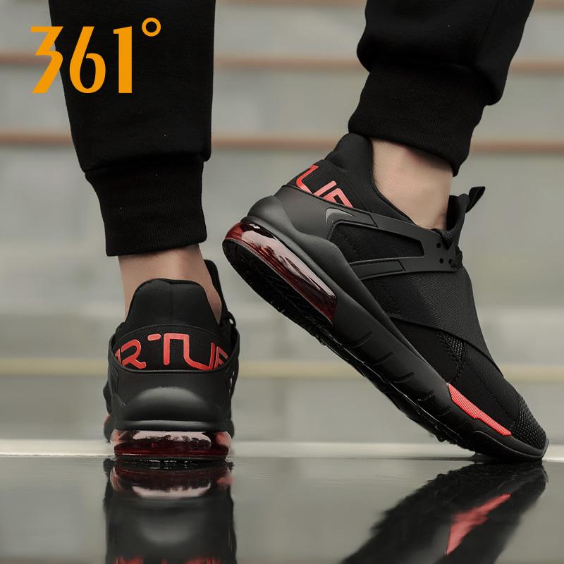 361男鞋休闲鞋春季轻便跑步鞋男士透气网面气垫运动鞋黑色跑鞋潮