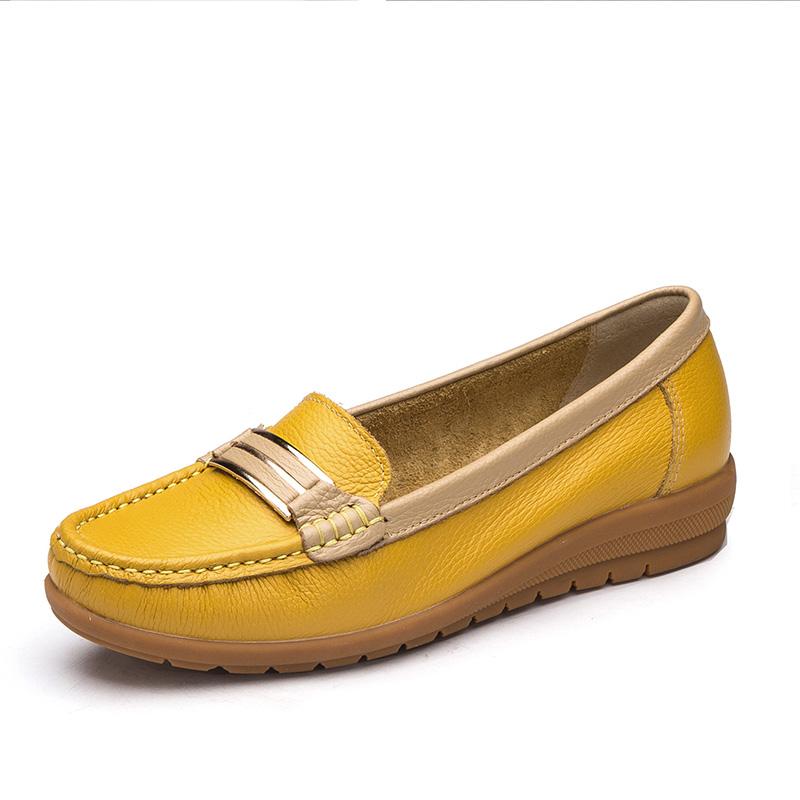 奥康女鞋 平底套脚休闲皮鞋一脚蹬牛皮护士鞋孕妇鞋子女单鞋子