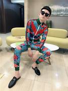 精神社会小伙长袖套装韩版个性印花两件套快手网红同款一套衣服潮