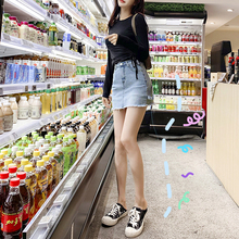 Anti-wear skirts! Ultra Short Button Jeans Skirt Sexy Elastic Half-length Skirt Tight Boot Skirt Autumn and Winter New Style