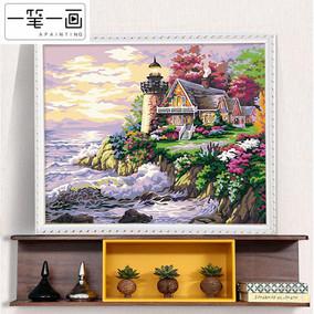 diy数字油画客厅风景手工涂色数码水彩画油彩画手绘填色画装饰画