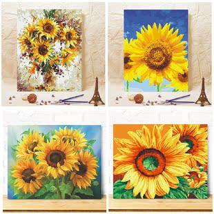 饰画风景花卉风景向日葵 diy数字油画自己填色油彩家居客家居装