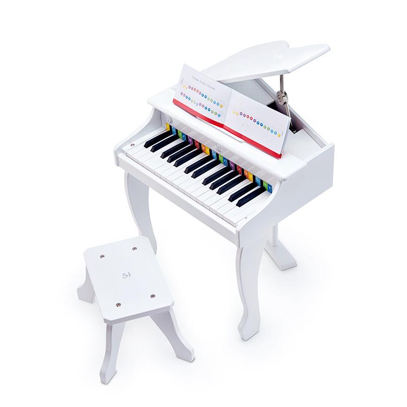 Hape优雅白30键电钢琴 电子琴宝宝3-6岁木制儿童音乐玩具可弹奏