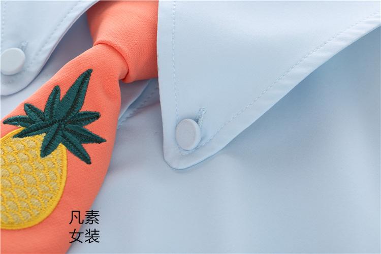 因为遇见你吴优张雨欣同款刺绣花百搭方便免打商务学生菠萝领带女