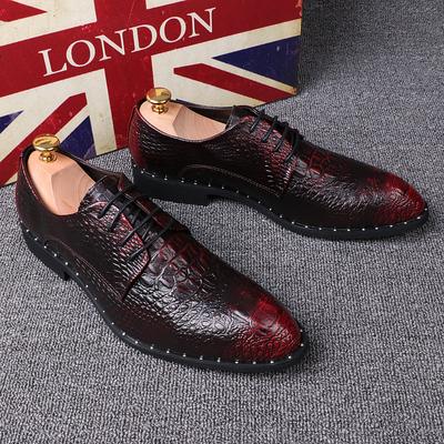男士鳄鱼纹男鞋尖头商务正装皮鞋内增高6cm婚英男伦复古个性潮鞋