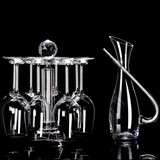 Crystal diamond upside down glass holder rotating wine cabinet shelf tall glass red wine glass household set decanter