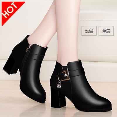 短靴女单鞋2017新款秋冬季韩版百搭加绒高跟鞋粗跟妈妈鞋女鞋皮鞋