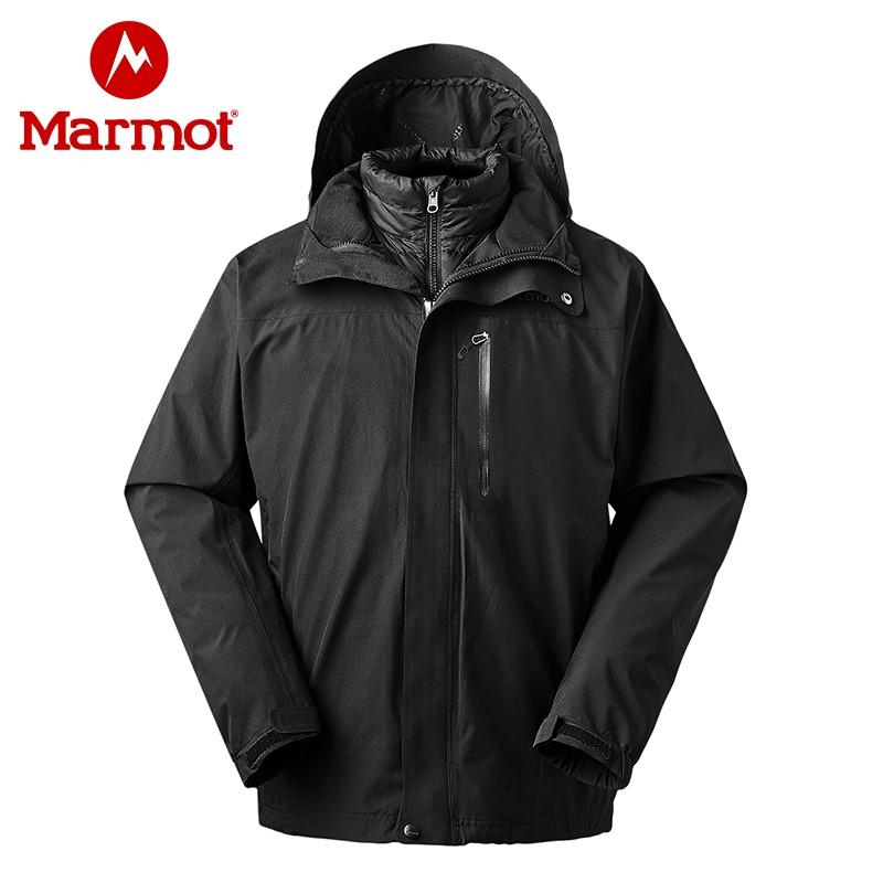 marmot土拨鼠户外运动新款防风保暖男款鹅绒羽绒内胆三合一冲锋衣