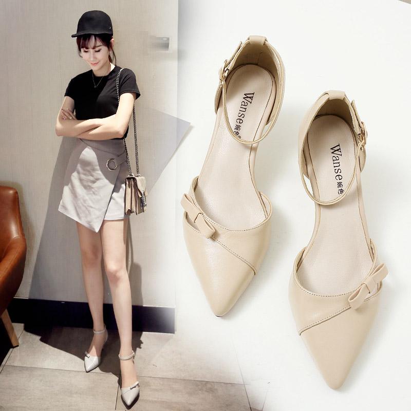 白色女凉皮鞋