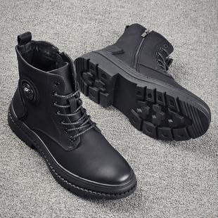 馬丁靴男高幫男士英倫短靴潮中幫工裝靴秋季單鞋休閑百搭韓版皮靴