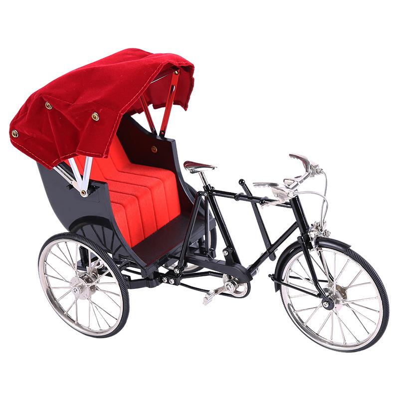 老上海1:10三轮黄包车模型玩具仿真精巧金属人力自行车复古怀旧