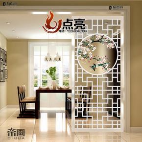新款艺术玻璃客厅屏风隔断 玄关过道背景墙双面磨砂透光中式简约