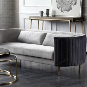 北欧家居绒布灰色布艺沙发三人位玫瑰金沙发腿简约风格休闲/格调
