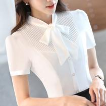 韩版职业白色衬衫女短袖夏季雪纺宽松正装大码蝴蝶结衬衣2019新款