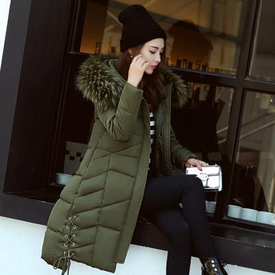 2017冬季新款棉衣女中长款学生大码修身加厚韩版大毛领外套棉袄潮