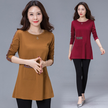 Long-sleeved T-shirt, loose cotton mother's sweater, spring and autumn clothes, middle-aged blouses, 40-50 years old
