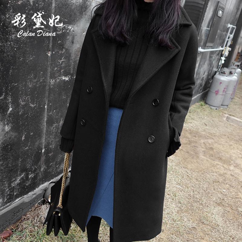 长袖黑色女大衣