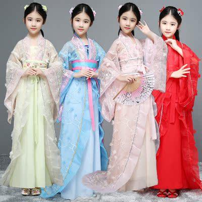 新款儿童古装汉服女 嫩粉色公主服装 四大美人服装王昭君古筝服装