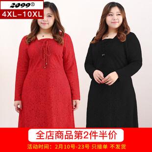 大码女装胖mm200斤加肥加大2018春秋蕾丝裙子遮肚子藏肉连衣裙女