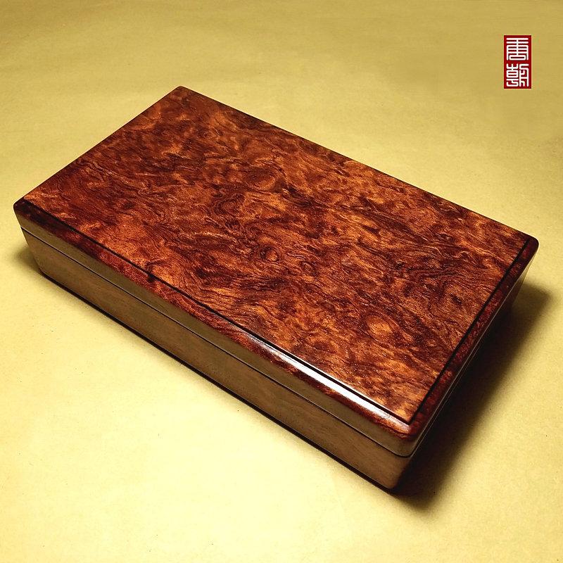 整木大漆花梨木首饰盒红木收纳盒手串玉器文玩收藏盒实木精品漆器