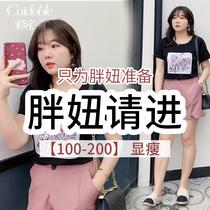采多宝大码女装胖妹妹2019夏装火烈鸟贴图钉珠针织遮肚子T恤Z0193