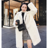 openlady 羊卷毛皮草外套女 冬季韩版中长款圈圈仿羊羔毛白色大衣
