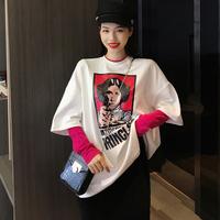 夏季人头印花短袖T恤女宽松圆领韩版修身上衣中长款打底衫体恤潮