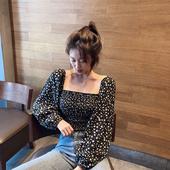 短款 衬衣 长袖 上衣女新款 法式复古BF碎花方领褶皱衬衫 2019初秋修身图片