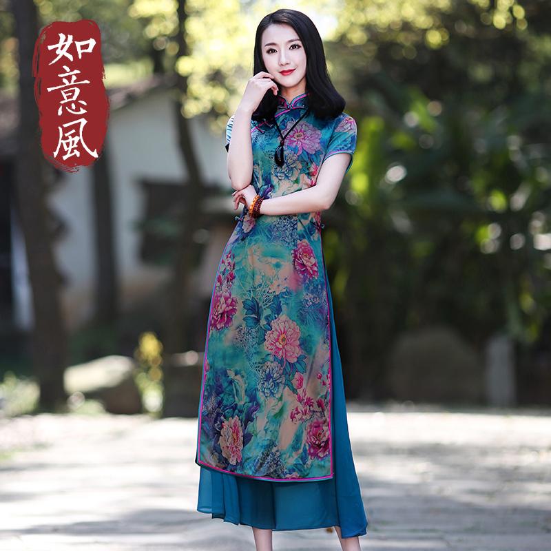 旗袍女夏季改良版连衣裙短袖中长款越南奥黛旗袍裙2018新款时尚装