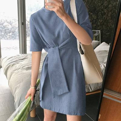 夏季新款纯棉圆领打结体恤短袖中长款T恤女绑带上衣显瘦简约打底
