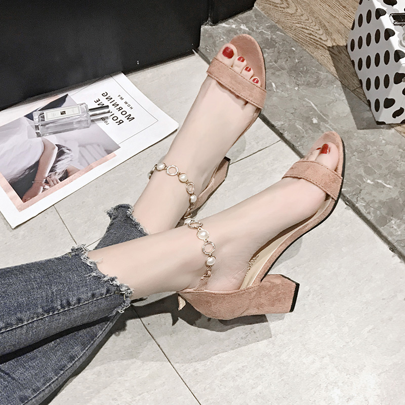 粗跟chic凉鞋2019夏季新款韩版百搭网红仙女风高跟鞋学生罗马女鞋