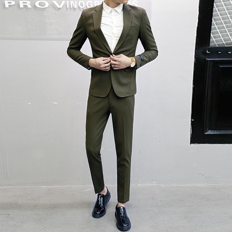 英伦休闲潮 男职业商务正装 男士 韩版 小西装 修身 韩国东大门西服套装