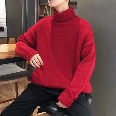 港风冬季新款高领毛衣男保暖加厚韩版学生打底衫原宿bf情侣针织衫