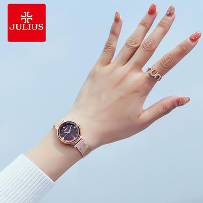 聚利时手表女学生时尚潮流防水钻韩版简约小表盘小巧钢带石英女表哪里便宜